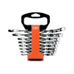 Zestaw kluczy płasko-oczkowych z uchylną grzechotką, metrycznych (BAHCO)