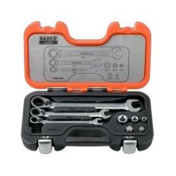 Zestaw grzechotkowych kluczy płasko -oczkowych i przejściówek (BAHCO)